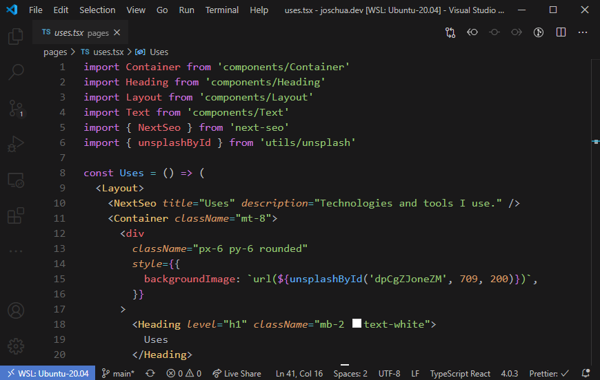 Screenshot of my VSCode theme